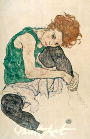 Sitzende Frau mit hochgezogenen Schiele Egon