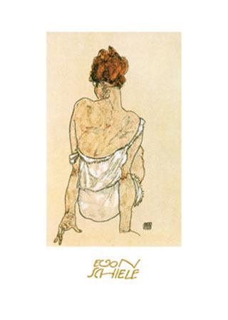 Zittende Vrouw Kunstdruck mit Folienprägung Schiele Egon