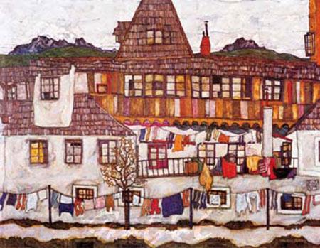 Häuser mit trockener Wäsche Schiele Egon