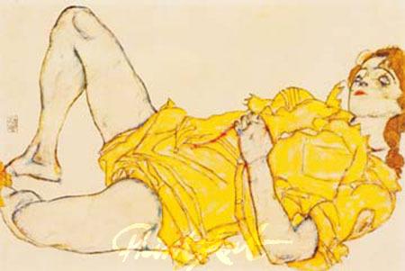 Liegende Frau im gelben Kleid Schiele Egon