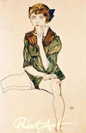 Mädchen mit grünem Hemd Schiele Egon