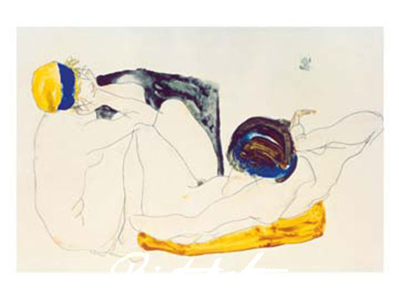 Due figure giacenti, 1912 Kunstdruck Schiele Egon
