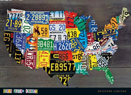 USA Map II Kunstdruck Foster Aaron