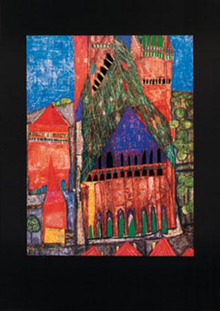Kathedrale Marrakesch Kunstdruck mit Folienprägung Hundertwasser Friedensreich