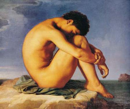 Jeune homme du assis Flandrin Hippolyte