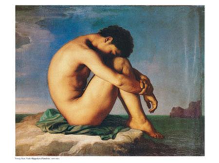 Young Man Nude Kunstdruck Flandrin Hippolyte