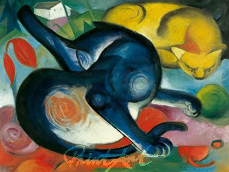 Zwei Katzen, blau und gelb Marc Franz