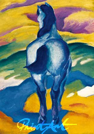 Blaues Pferd II Kunstdruck Marc Franz
