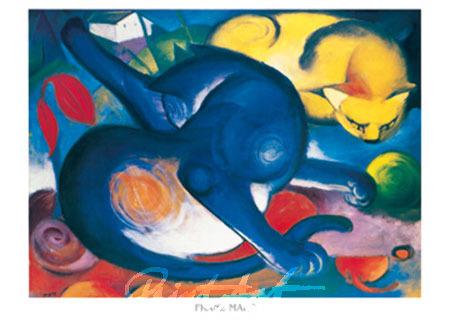 Zwei Katzen, blau und gelb Kunstdruck Marc Franz