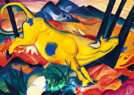 Die gelbe Kuh Kunstdruck Marc Franz
