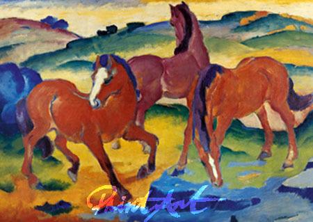 Die roten Pferde Kunstdruck Marc Franz