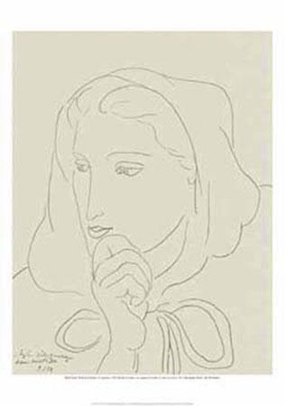 Portrait de femme au Kunstdruck Matisse Henry