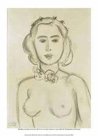 Jeune femme aux seins nus Kunstdruck Matisse Henry