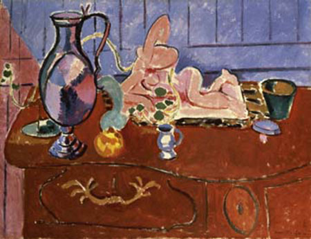 Statuette rose et bol d'étain Kunstdruck Matisse Henry