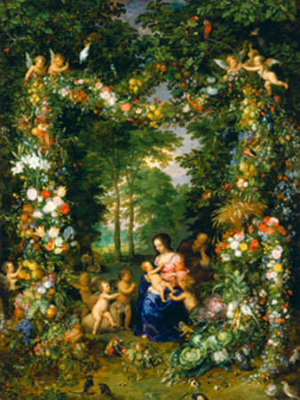 Hl. Familie in einem Blumenkranz Breughel d.Ä. Jan