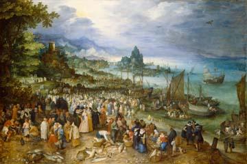 Seehafen mit Predigt Christi Breughel d.Ä. Jan