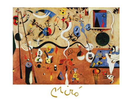 Il carnevale d'Arlecchino Kunstdruck mit Folienprägung Miro Joan