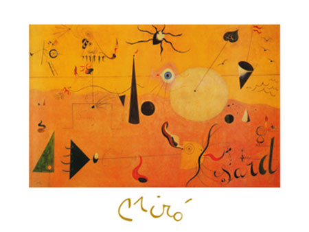 Paysage Catalan Kunstdruck mit Folienprägung Miro Joan