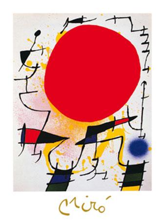Le soleil rouge Kunstdruck mit Folienprägung Miro Joan