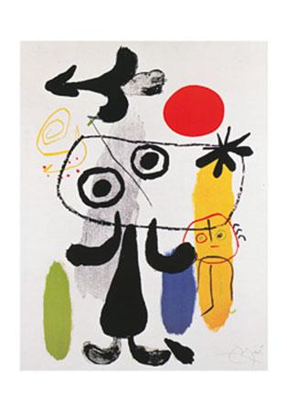Figur gegen rote Sonne II Kunstdruck Miro Joan