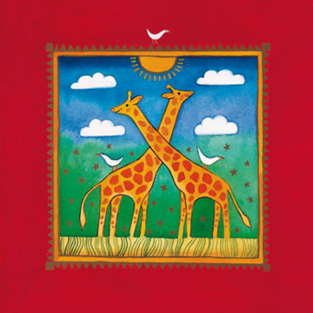 Two little giraffes Kunstdruck Edwards Linda