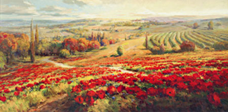 Red Poppy Panorama Kunstdruck Lombardi Roberto