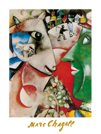 I and the village, 1911 Kunstdruck mit Folienprägung Chagall Marc