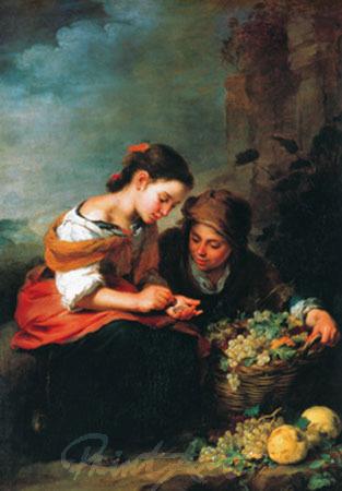 Die kleine Obsthändlerin Kunstdruck Murillo B.E.