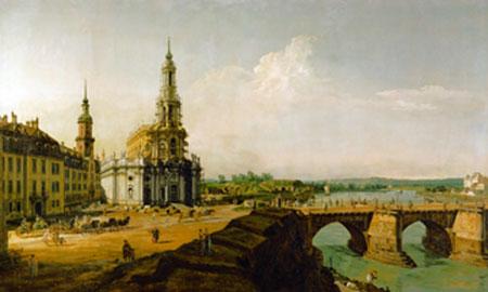 Dresden, Blick vom Elbe-Ufer Canaletto