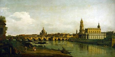 Dresden, Blick vom Elbe-Ufer... Canaletto
