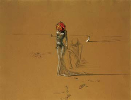 Female with Head of Flowers Kunstdruck Dali Salvador