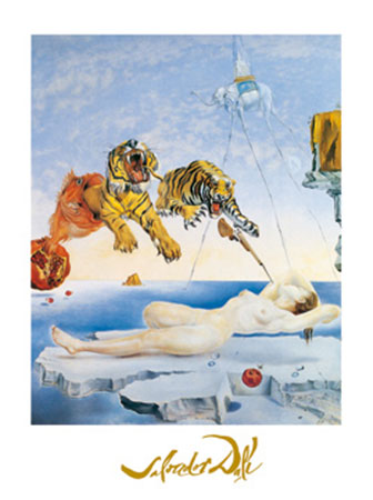 Une seconde avant l'eveil Kunstdruck mit Folienprägung Dali Salvador