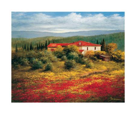 Landschaft mit Mohn II Kunstdruck Springet Mike