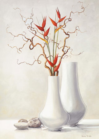Willow Twigs with Red Flowers Kunstdruck Van der Valk Karin