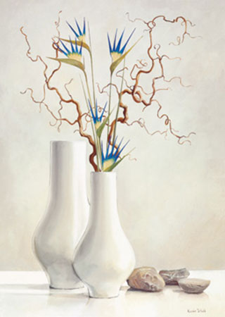 Willow Twigs with Blue Flowers Kunstdruck Van der Valk Karin