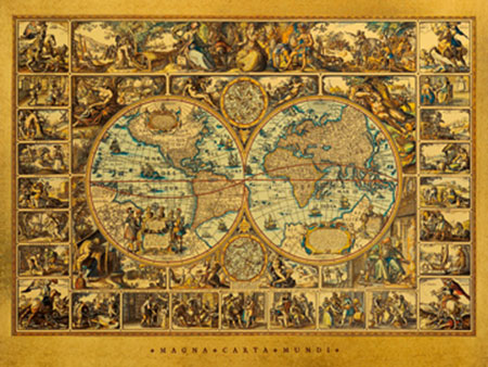 Magna Carta Mundi Spiegelfolie silber Vischerius Nicolaus Ioannis