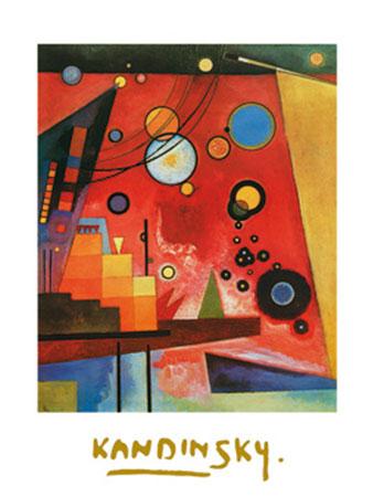 Schweres Rot Kunstdruck mit Folienprägung Kandinsky Wassily