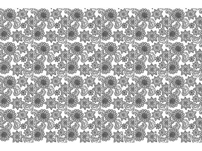 Designtapete Blumen mit Konturen