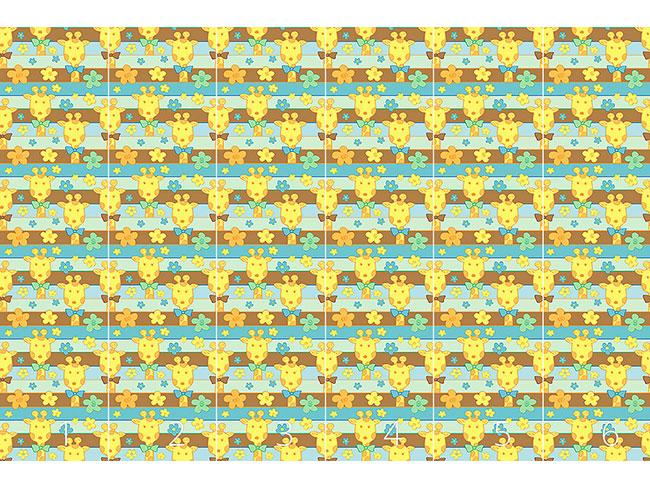 Designtapete Giraffen im Blumenbeet