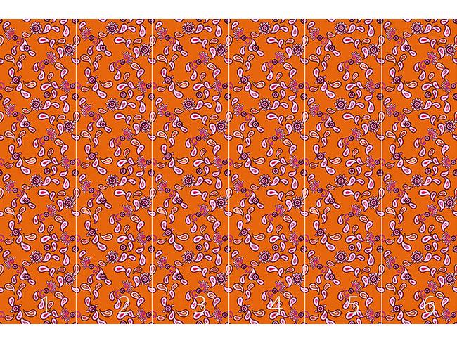 Designtapete Oranges Paisley
