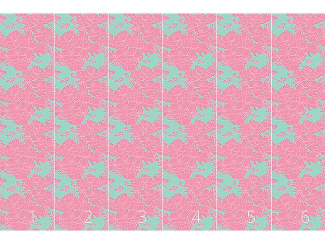 Designtapete Vintage Blumen Pink