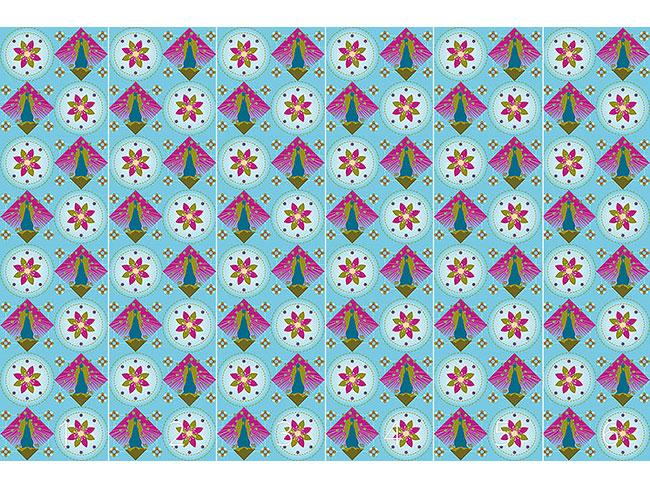 Designtapete Pfau und Blüten