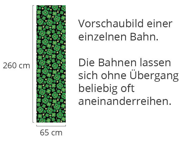 Designtapete Kleeblätter auf Schwarz