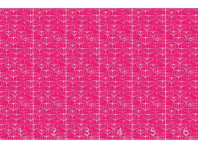 Designtapete Lampionherzen Pink