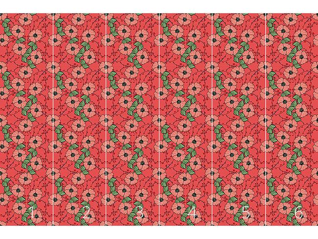 Designtapete Rote Blumen mit Blättern