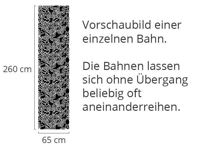 Designtapete Ranken Schwarzweiss