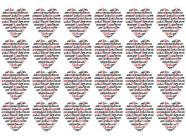 Designtapete Liebesbriefchen