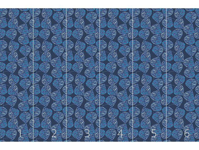 Designtapete Marine Blaue Blätter