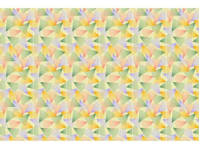 Designtapete Wirbelnde Helle Dreiecke