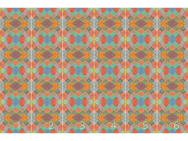 Designtapete Patchwork  Multicolor